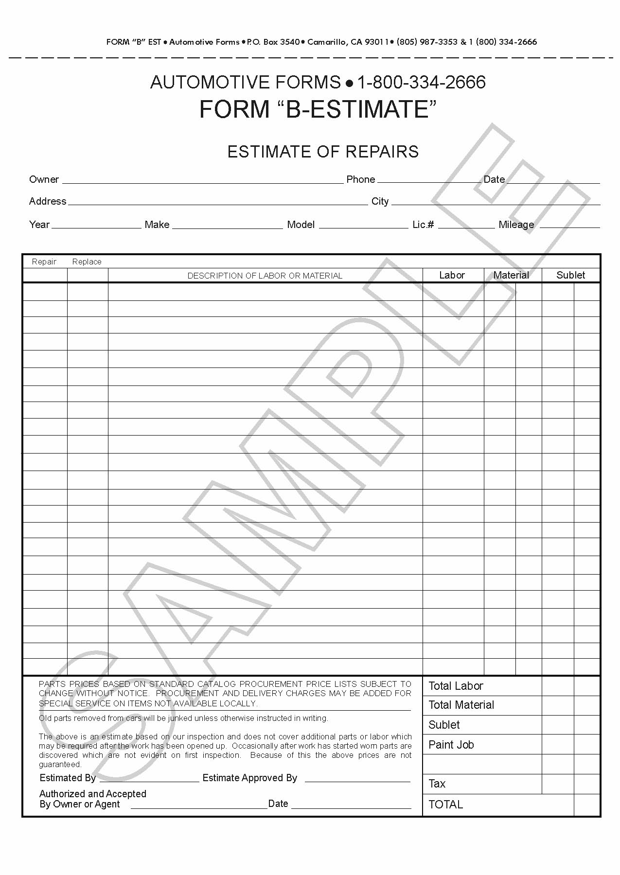 How to write an estimate here is preview of another for Written estimate template